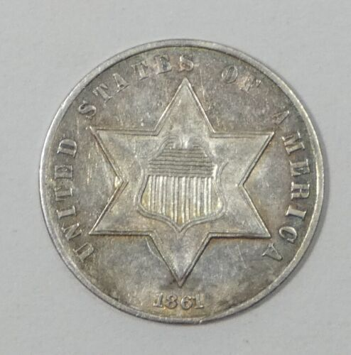 1861 Silver Three-Cent Piece ALMOST UNCIRCULATED 3c Trime