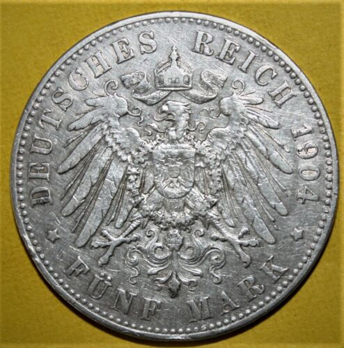 Germany - Prussia 5 Mark 1904-A Very Fine / Extremely Fine Large Silver Coin