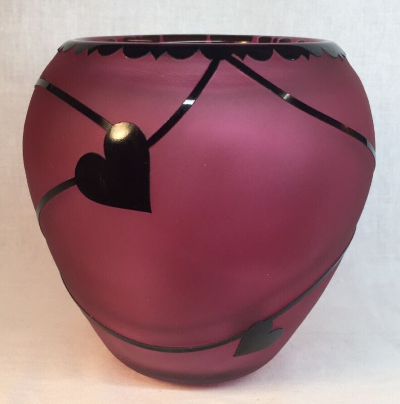 Gibson Art Glass Cranberry / Black Glass Overlay Cameo Sand Carved Hearts Vase