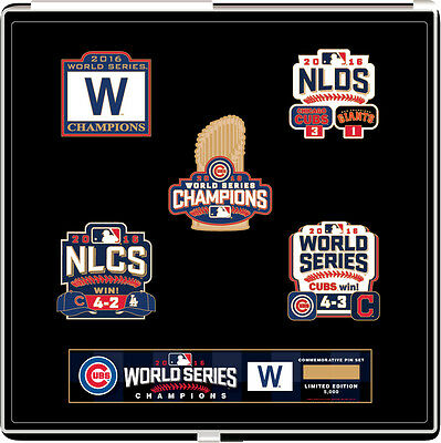 Chicago Cubs 2016 World Series Champs Commemorative Pin Set   Limited To 5 000
