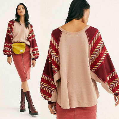 NEW Free People Rainbow Dreams Pullover Waffle Knit Batwing Sleeve Top $98 Small Batwing Sleeve Knit Top