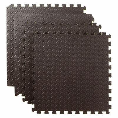 48 SQ FT Interlocking Foam Mats Tiles Gym Play Garage Workshop Floor Mat Black