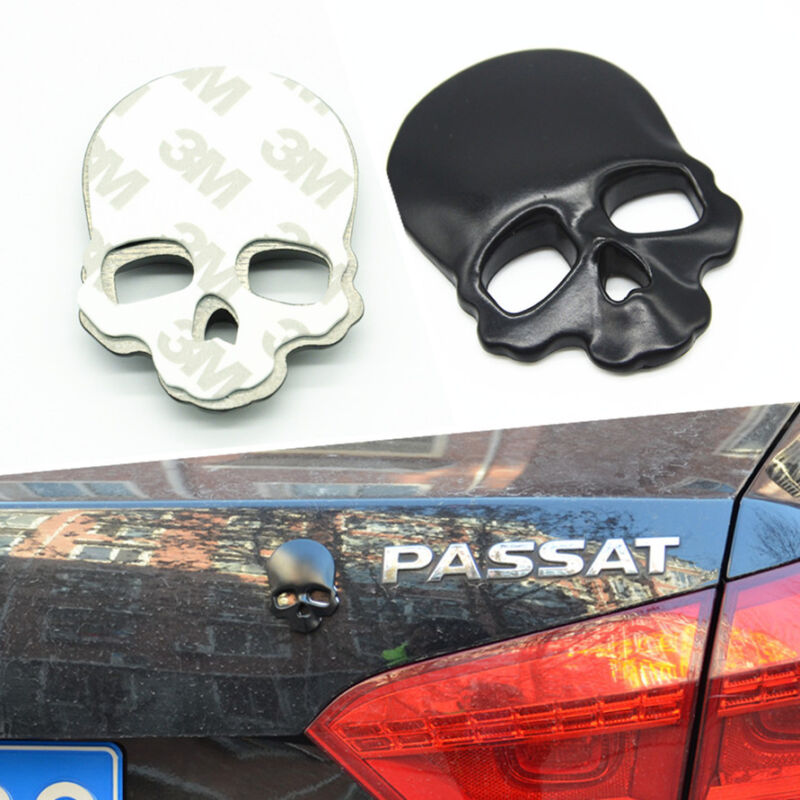 1x Car Body Trunk 3D Metal Emblem Black Hollow Skull Demon Mask Helmet Sticker