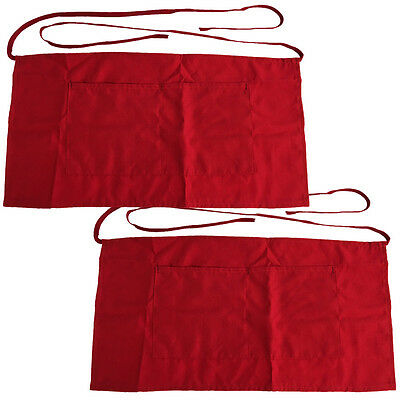 2 Pack - Half Size Apron Bib Bistro Bar Cafe Pub Waiter Waitress- Red