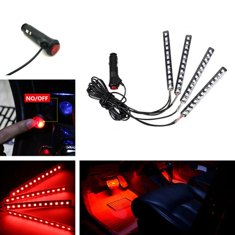 4 Pcs 12LED Chips Red Auot Car Interior Atmosphere Lights Cigarette Lighter Plug