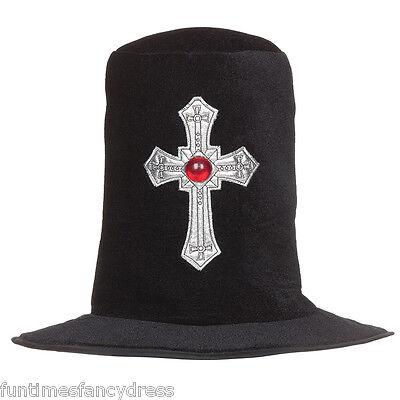 Halloween Gravedigger Top Hat Gothic Silver Cross Hat Fancy Dress Undertaker Hat