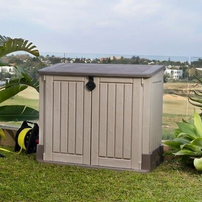 Outdoor Storage Cabinet Plastic Shed Tool Box Patio Garage Utility Garden Pool