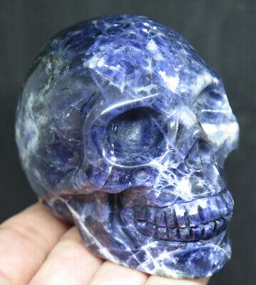 77mm 11.3OZ Natural Sodalite Jasper Crystal Carving Art Skull - $8.30