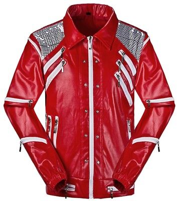 Michael Jackson Thriller Jacket Coats Beat It Red Jackets Costumes Adult & Kids