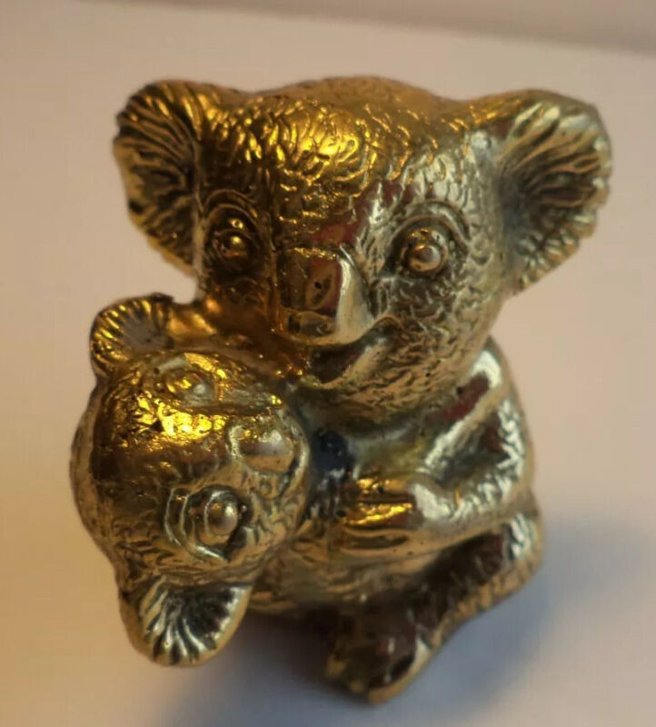 """SWEET 2 1/4""""  HOLLOW CAST BRASS KOALA BEAR & BABY FIGURINE SCULPTURE MINIATURE"""