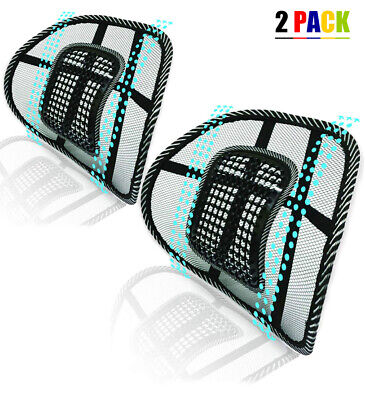 Universal 2x Mesh Back Support Lumbar Brace For Car Office Seat Chair Cushion