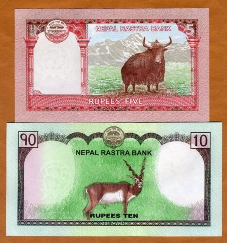 SET Nepal, 5;10 Rupees, 2017, P-76-77, UNC > Everest, Deer, Yak