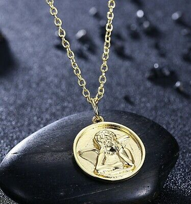 14k Gold Religious Jewelry - 14K Yellow Gold Plated Thinking Angel Charm Necklace Pendant Religious Jewelry