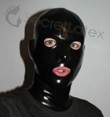 BLACK LATEX HOOD RUBBER SKIN GUMMI LONG NECK GIMP ANATOMICAL MAN MALE ZIP MASK