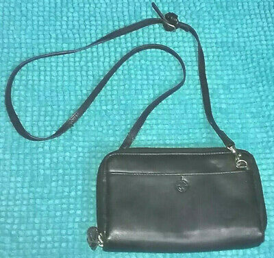 Franklin Covey Crossbody Planner Purse Black Fullgrain Nappa Leather