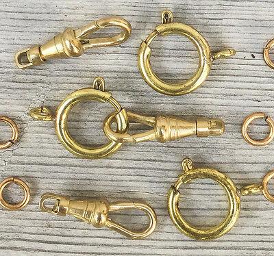 1 set vtg pocket watch chain clasp Spring Ring Swivel clip Gold Brass repair