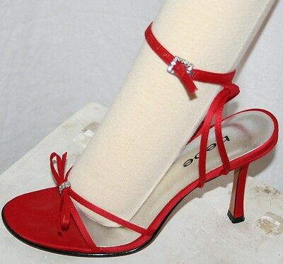 BEBE EYE CANDY SHINY RED SATIN PUMPS luscious SEXY STRAPPY SANDALS SLIP ON (Bebe Eyes Eye Candy)