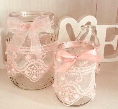 Rosa Vintage Tee (Vintage Dekoset Hochzeit 3 Teilig Vase Teelicht Rosa Edel)