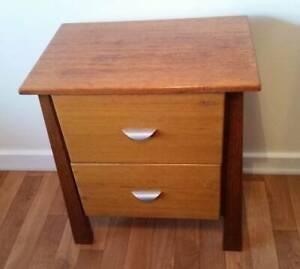 bedside 2drawer table wooden
