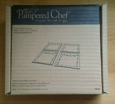 NIB Pampered Chef Glass Square Pink Daisy Dessert Plates #2818 (Set of 4) 6 Inch - Pink Square Plates