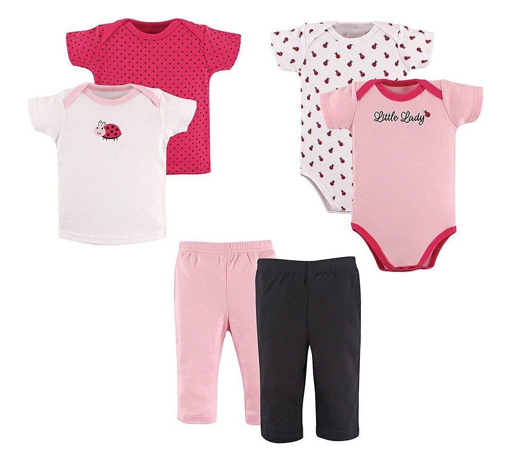 Girls HUDSON BABY lady bug shirts pants 0-3 NWT layette set