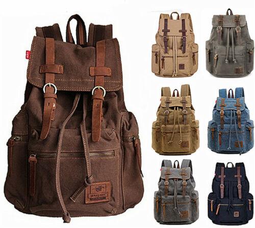 "Women Men 15"" 17"" Laptop Canvas Leather Backpack Travel Ruck"