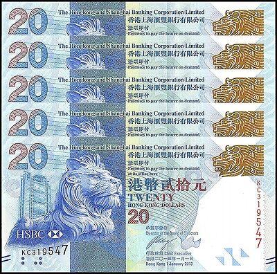 Hong Kong  20 Dollars X 5 Pieces  Pcs   2013  P 212C  Unc  Hsbc