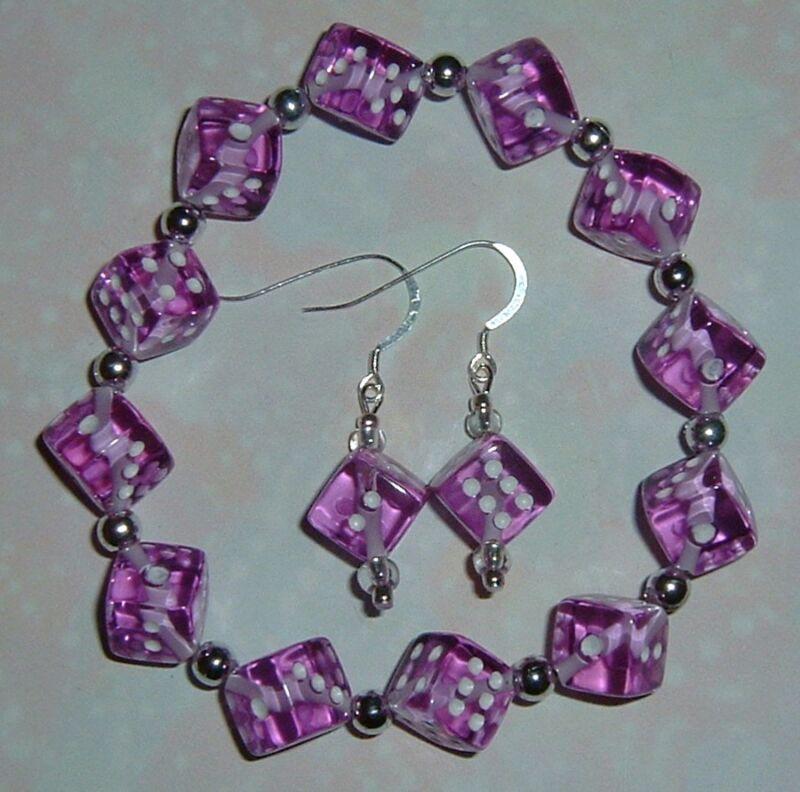Purple Dice Jewelry Set! Bracelet & Earrings! Bunco/ Bunko/Casino Party! Gamers!