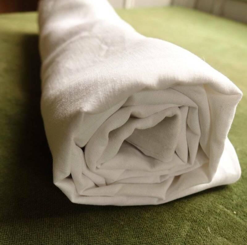 "Antique smooth pure Irish linen fabric - white - 36"" x 34"""