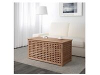 Solid Acacia Side table/bench with Storage