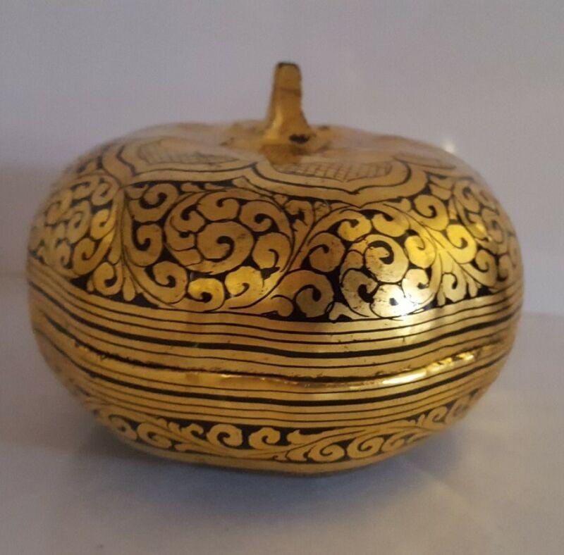 Antique Burmese Lacquered Bamboo Box Pumpkin Gourd Trinket Box