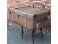 vintage retro edwardian travel trunk / blanket box / toy box