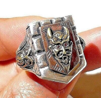 1940s Jewelry Styles and History Vintage Rockabilly 1940s 1950s 3 Tone Mexican Biker Novelty Devil Ring Skull $100.00 AT vintagedancer.com