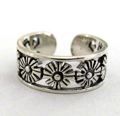 Sterling Silver 7 Flower filigree adjustable toe ring
