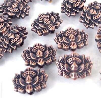 25 Antique Copper Pewter Lotus Flower Buddhist Beads 12x8mm - Lotus Flower Bead