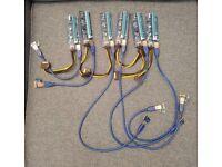 Five PCI-E Express 16x to 1x Extender Riser Card Adapter PCIE + ADD2PSU Power Supply adabter