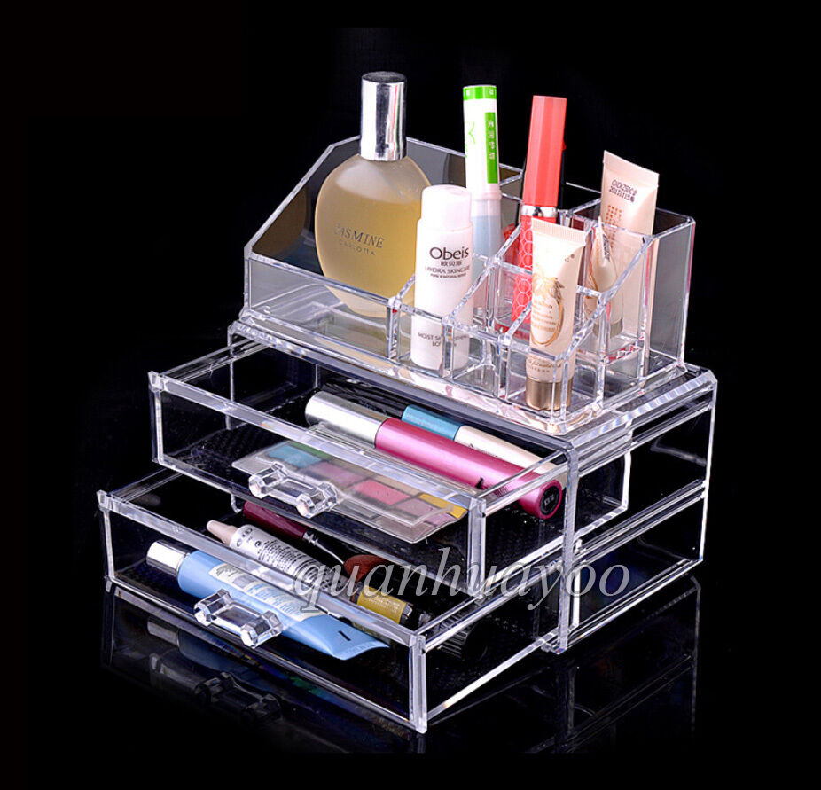 2 Storage Clear Makeup Jewelry Organiser Cosmetic Drawer