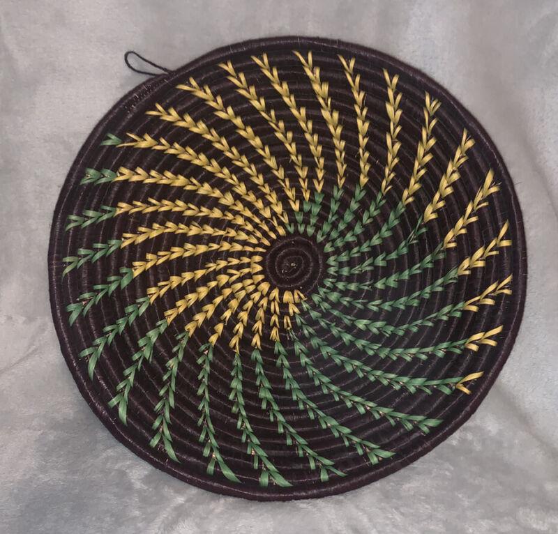 "African Rwanda Coiled 12"" black Green Yellow Basket Wall Hanging Handmade Boho"