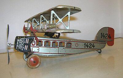 Altes TIPPCO Tipp & Co Flugzeug Blechflugzeug Doppeldecker - 30er Jahre