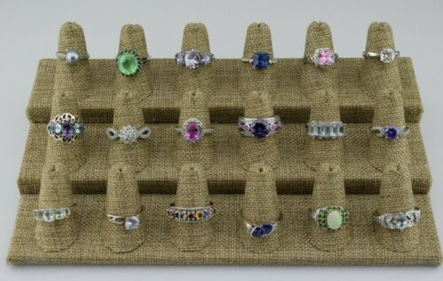 Lot of 18 Sterling Silver Multi Gemstone Statement Rings Bands Various 6 7 8 9
