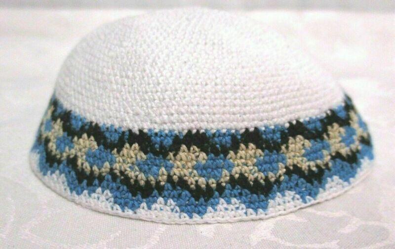 yamaka Kippah Knit Crochet White Black Blue Tan Jewish Cap