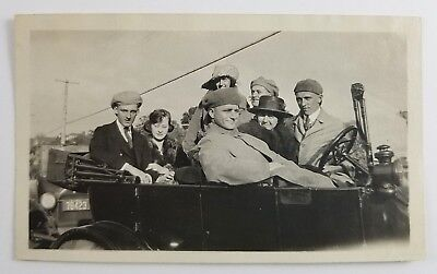 Snapshot Photo Group Of Men And Women In Car With Top Down Vintage Fashion 1920s