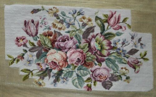Pink Roses Flowers Petit Point Needlepoint Partially Completed Finished Wool