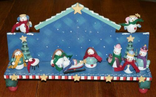 "11-Piece Snowman Nativity Christmas Set EUC Hand-painted, Wooden, 18"" long RARE"