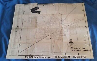 Map City Street Road Map GALION OHIO 1960 Kumm Real Estate Inc Vintage