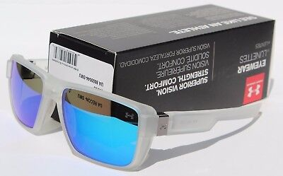 UNDER ARMOUR Recon Sunglasses Matte Clear/Blue Mirror NEW Sport/Cycle $100