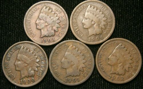 1900 1901 1902 1903 1904 1c Indian Head Cent Penny Set Lot 5 Coins , Circulated