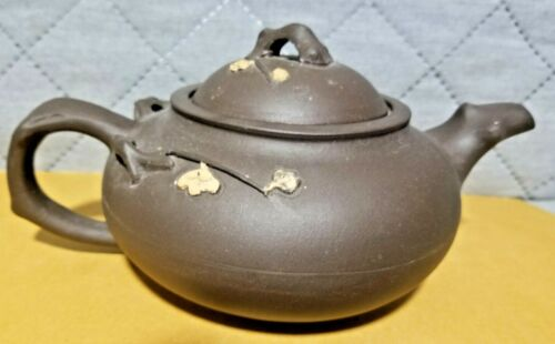 Vintage Chinese Dark Brown Yixing Zisha Clay Teapot With Flower Branch Motif