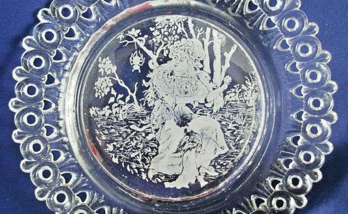 1889 Antique Victorian Pressed Glass Egg & Dart Miss Muffet Nursery Rhyme Plate