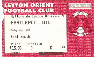 Ticket - Leyton Orient v Hartlepool United 16.04.01